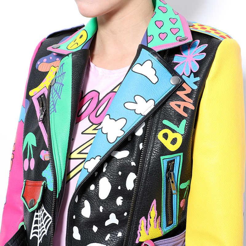 Streetwear Women Leather Jacket Fashion Graffiti Printted Hit Color Short PU Jacket Motorcycle Leather Jacket Women Rock Coat