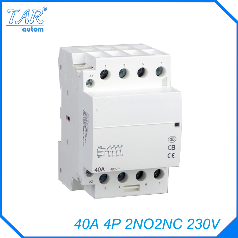 2NO 2NC WCT 40A 4P modular charging pile with household AC contactor guide rail installation 230V in Contactors from Home Improvement
