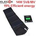 Elegeek 14 w 5 v 18 v usb dc carregador de painel solar dobrável carregador de painel solar portátil para ipad iphone samsung dispositivo android