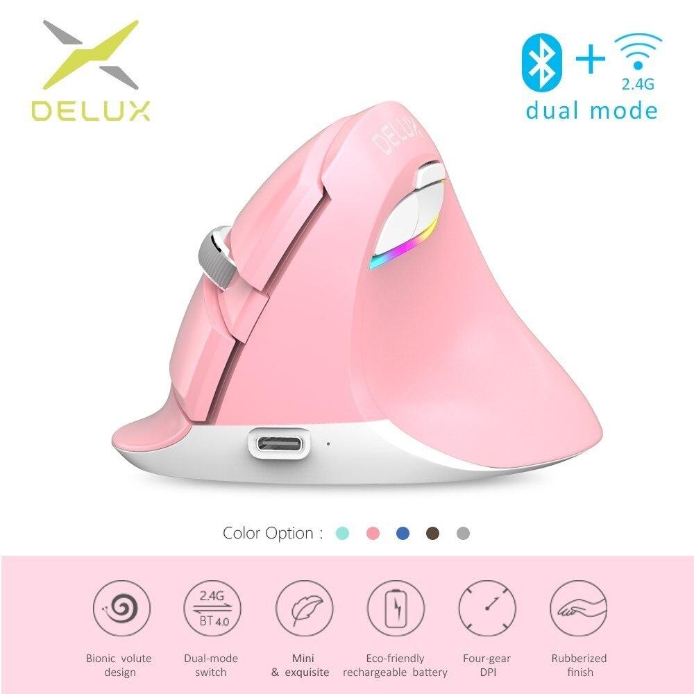 Delux M618Mini Bluetooth 4.0 + 2.4g Sans Fil Vertical Souris 4 Rapport DPI RGB Ergonomique Rechargeable Souris pour PC Portable téléphone intelligent