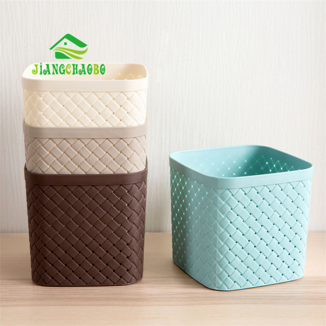 Incroyable JiangChaoBo Imitation Knitted Square Storage Basket Desktop Storage Basket  Plastic Hollow Cutter Basket Storage Box Set