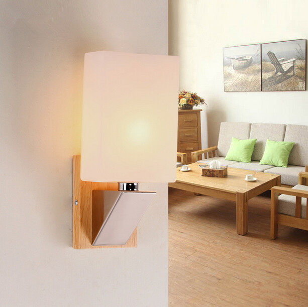 Modern Simple Bedside Bedroom Wall Lamp Living Room Creative Wood LED Hotel Chinese Style Glass Wall Light Free Shipping