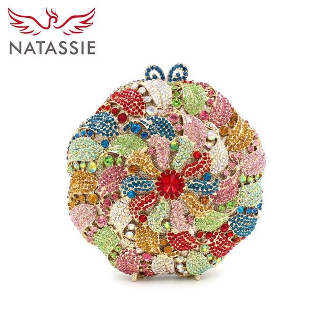 NATASSIE New Women Colourful Flower Crystal Evening Handbag for Party Wedding Bag Clutch Purse Multi Pink Yellow LX026