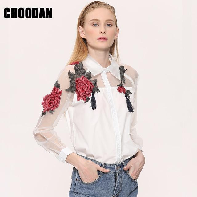 924791f10df 3D цветок вышивка блузки для малышек для женщин 2018 Фирменная Новинка топы  корректирующие Летний стиль органзы