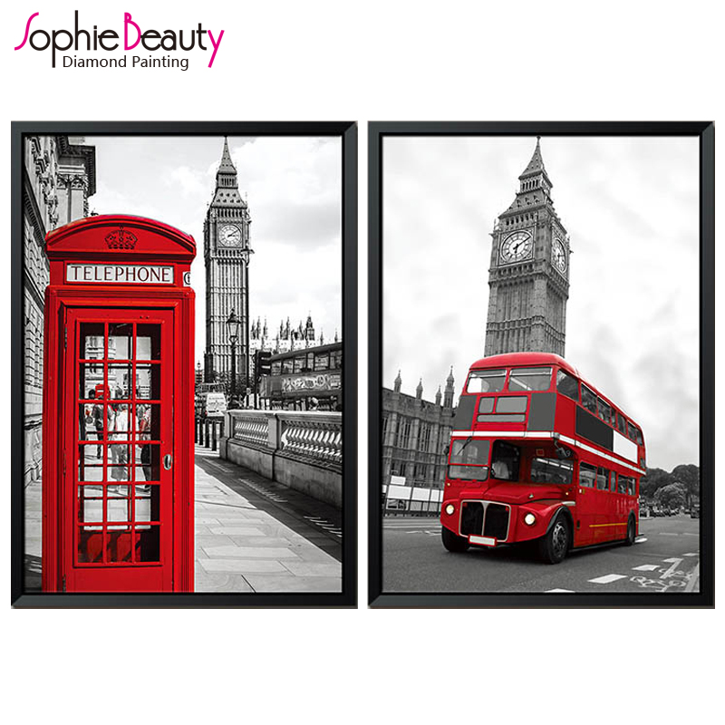 Diy Diamond Painting Cross Stitch Crystal Square Drawing Beauty Red England City Embroidery Beaded Arts Crafts Sewing Mosaic Kit