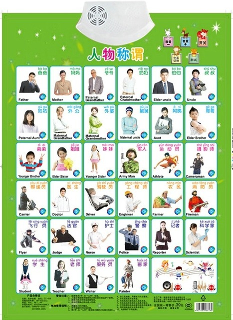 Figues Appellation Job Name Learning Card Book Baby Sound Wall Chart