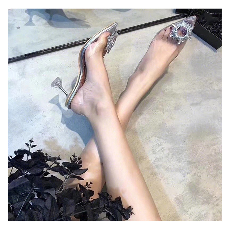 HTB1Mu63bwaH3KVjSZFjq6AFWpXaF Women's high heel sandals 2019 summer new pointed low heel rhinestone decorative sandals 42 large size jelly shoes