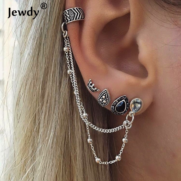 bohemian vintage stud earrings silver color boho fashion jewelry 4 pcs leaf earring long drop charms earrings set image