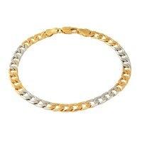 Dubai 2015 new trendy gold color Bracelets Women Men Gifts two-tone link chain Bracelets