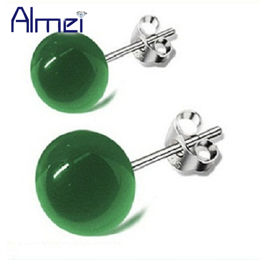 Almei Vintage Half Ball Stones Stud Earring for Men/Women Unisex Silver Color Costume Jewelry Green Small Brincos Earring SYYC86