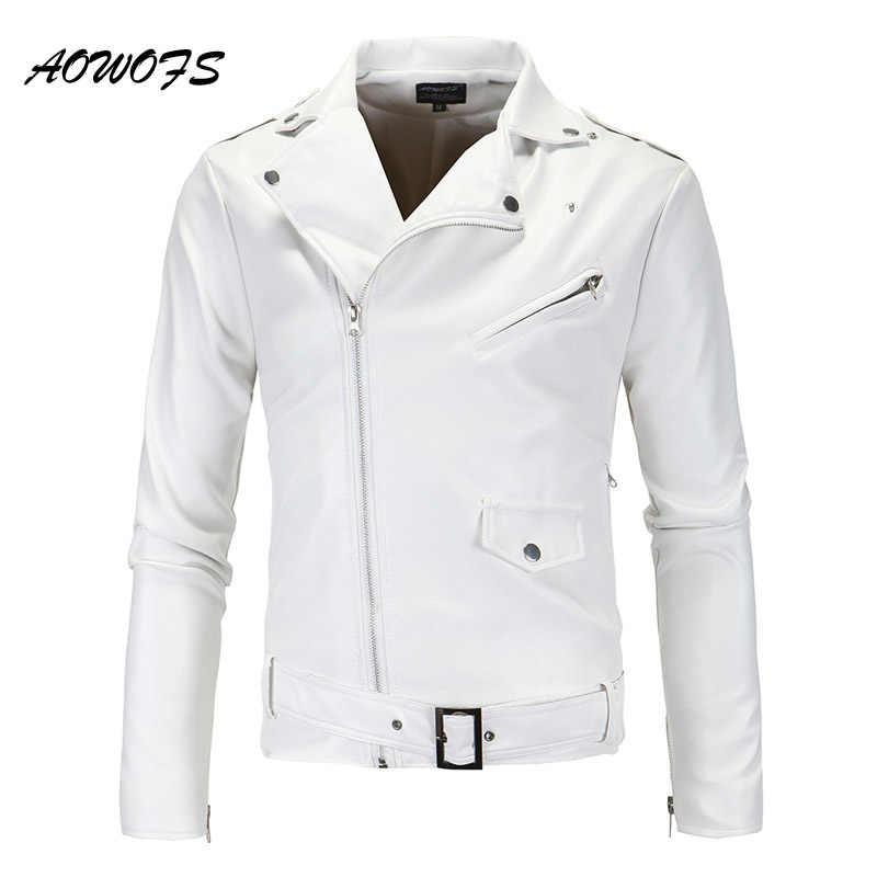 ee12b9d4773 ... AOWOFS Mens Leather Jacket Slim Fit Motorcycle Jackets Men Zipper  Lightweight Punk Leather Jackets Men Faux ...