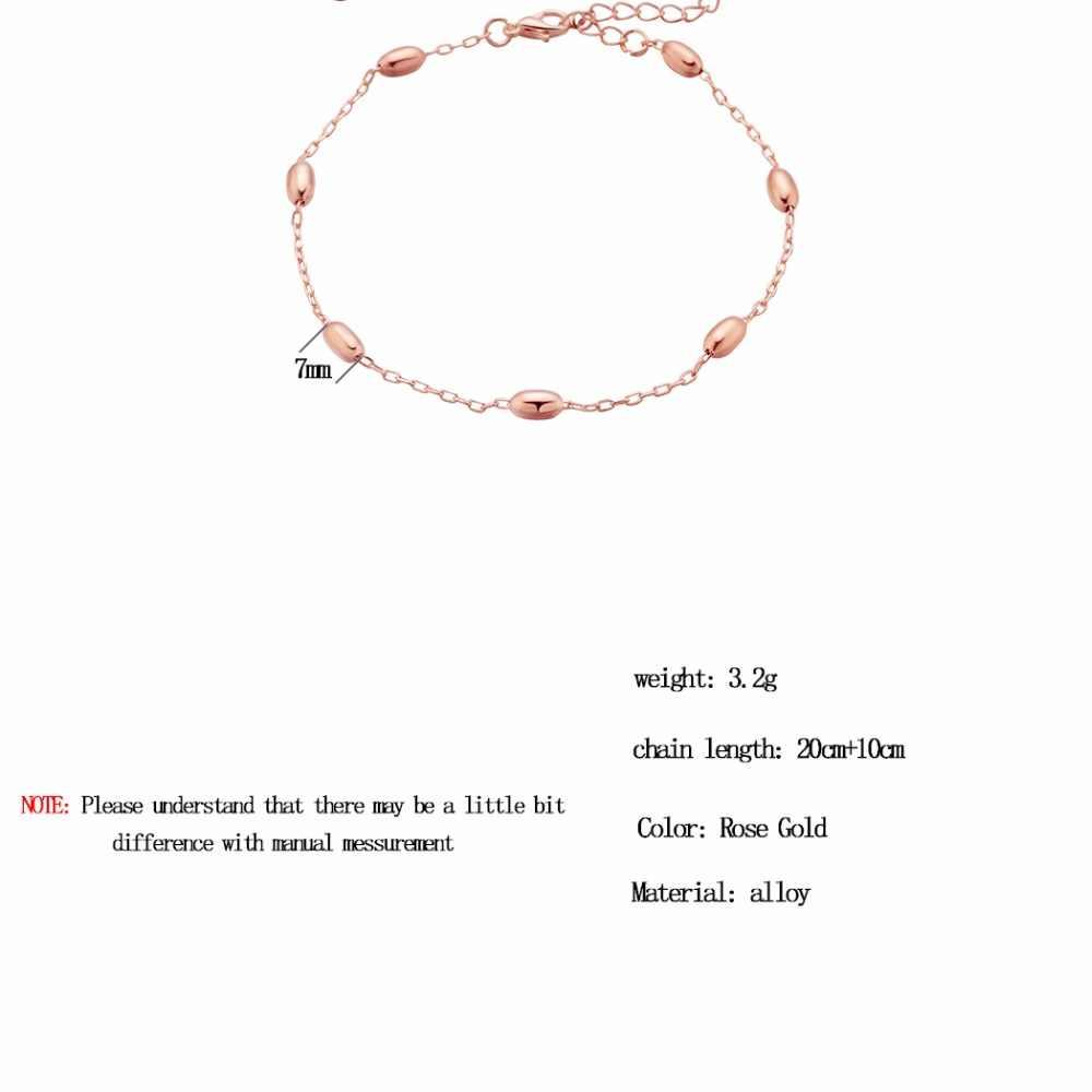 チャンドラーファッションデザインローズゴールドカラーのチタン鋼アンクレットブレスレット女性のロマンチックなリトルオーバルビーズ足チェーンジュエリー