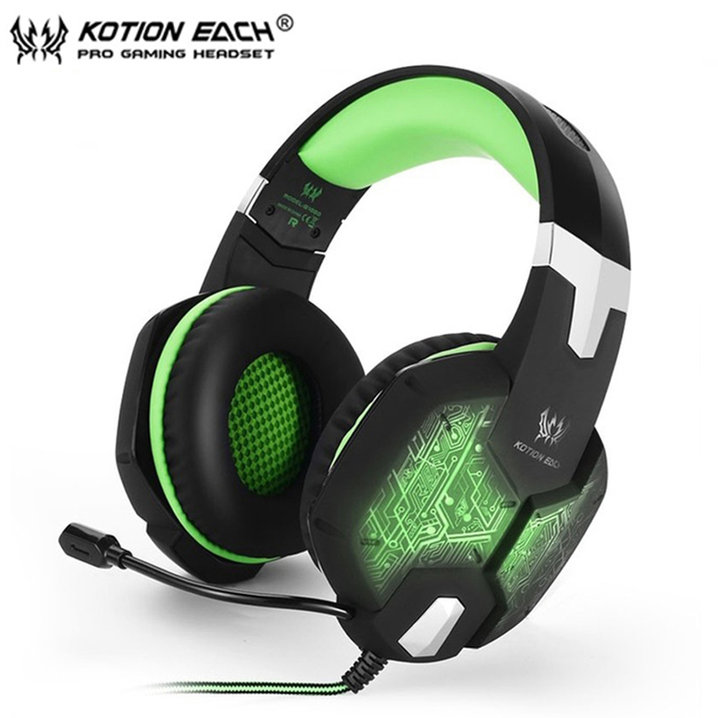 EACH G1000 Gaming Headset 3.5mm stereo Surround Deep Bass LED Light Over Ear Headphones With Microphone For Computer PC Gamer high quality gaming headset with microphone stereo super bass headphones for gamer pc computer over head cool wire headphone