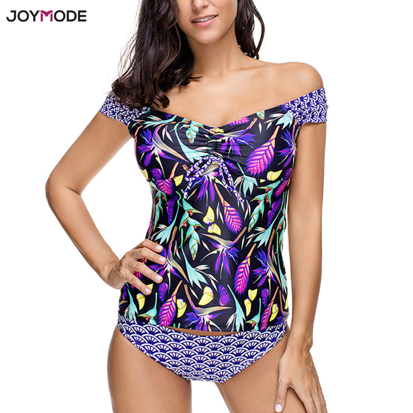 JOYMODE High Quality Bikini Set Print Off Shoulder Swimsuit Two Pieces Swimwear Women Floral Beach Bathing Suit Padded Tankini high quality geometric print sexy women bikini swimwear beach wrap skirt 3 in 1 set swimsuit oblique shoulder dress with flounce
