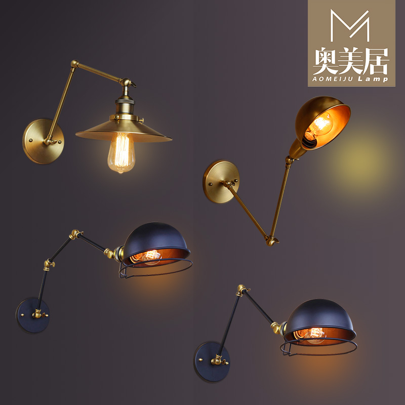 retro American living room bedroom bedside lamp wall lamp industry LED rocker wall personality activities industry wood bedside lamp american creative metal wall sconces home decor aisle balcony living room bedroom wall light wl247