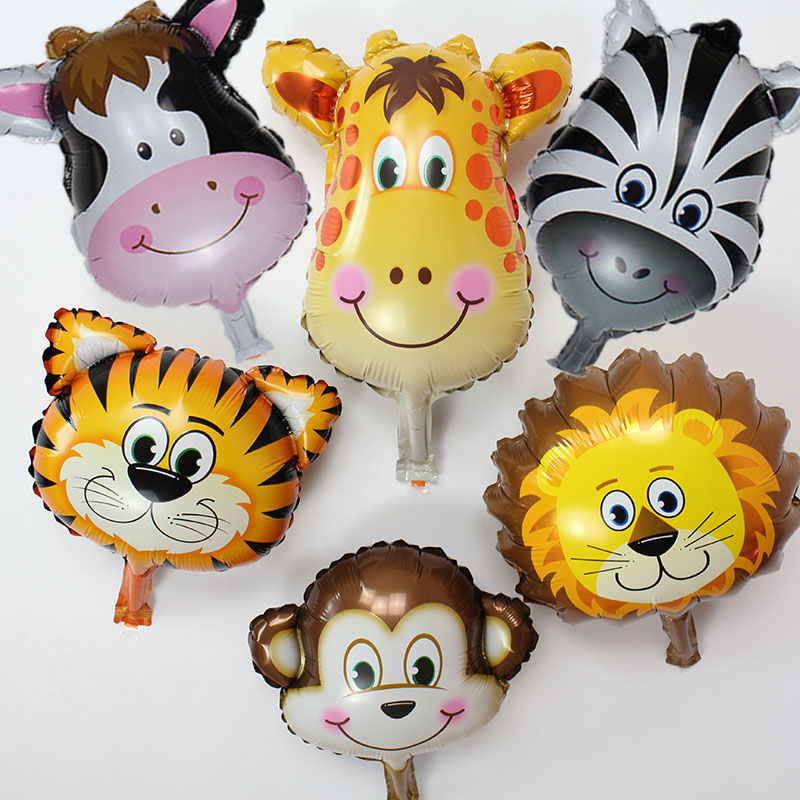 <font><b>100pcs</b></font>/lot Lion & monkey & zebra & deer Animals Head <font><b>Foil</b></font> Balloons cute mini Animal Air <font><b>Ballons</b></font> for baby birthday party suppies image