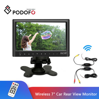 "Podofo Wireless 7"" Car Rear View Monitor + Mini Night Vision Backup Reverse Camera Kits For RV Truck Trailer Bus Reversing Kit"