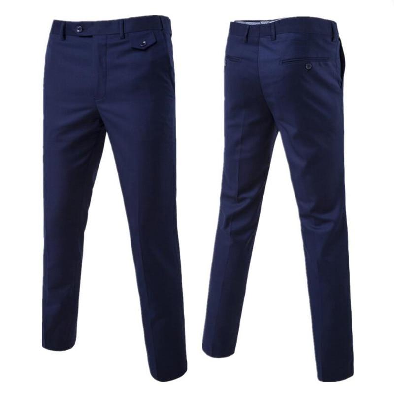 2019 New Men Fashion Boutique Cotton Solid Color Official Business Suit Pants / Men Groom Wedding Dress Suit Pants Mens Trousers