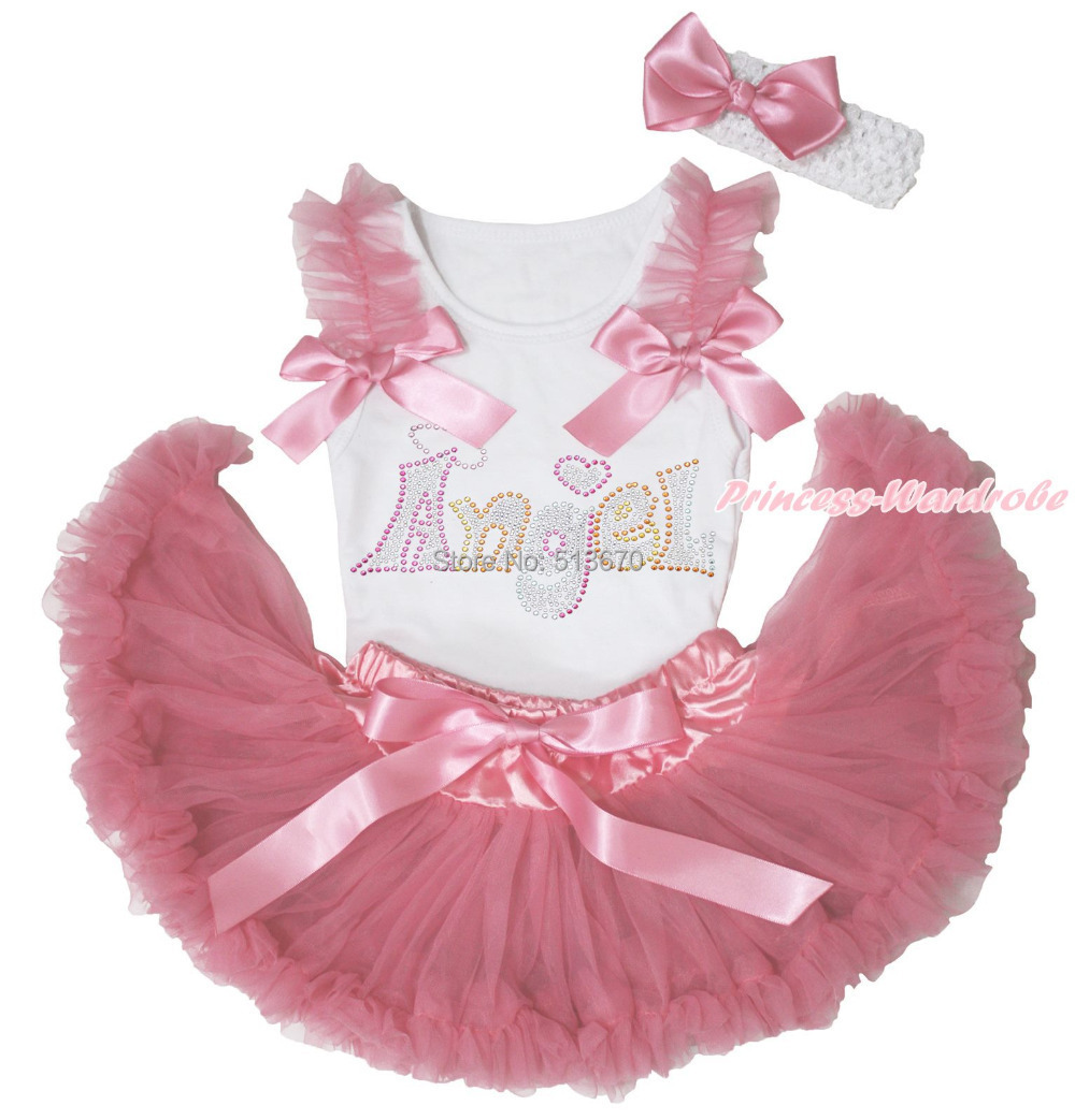 Rhinestone Angel White Tank Top Dusty Pink Newborn Pettiskirt Baby Girl Outfit Accessoies Set NB-12Month MAPSA0544