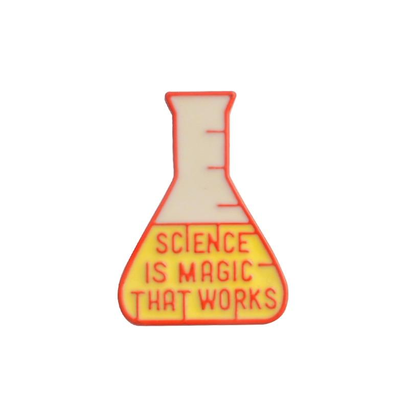 Magic Science enamel pin Light bulb No Idea Chemical Beaker badge brooch Lapel pin Denim Jeans shirt bag Cartoon Jewelry Gift 6