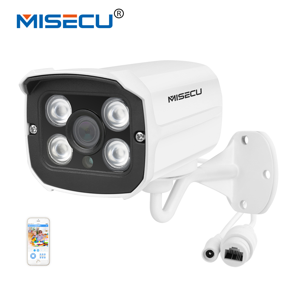 MISECU H.265 Surveillance IP Caméra 48 V POE 2MP Étanche En Plein Air CCTV Caméra Avec 4 PCS TABLEAU IR LED ONVIF Alerte Email p2p