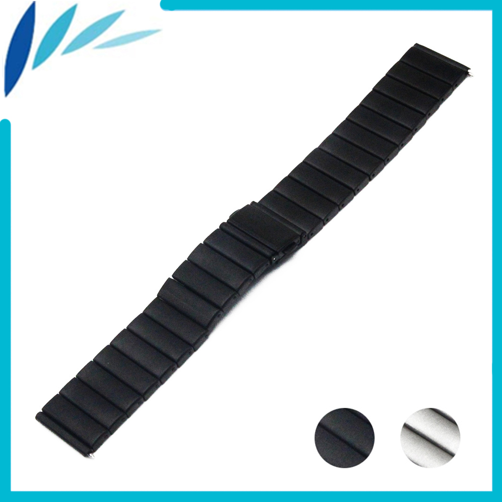 Stainless Steel Watch Band 24mm For Sony Smartwatch 2 SW2 Folding Clasp Strap Loop Wrist Belt Bracelet Black Silver + Spring Bar