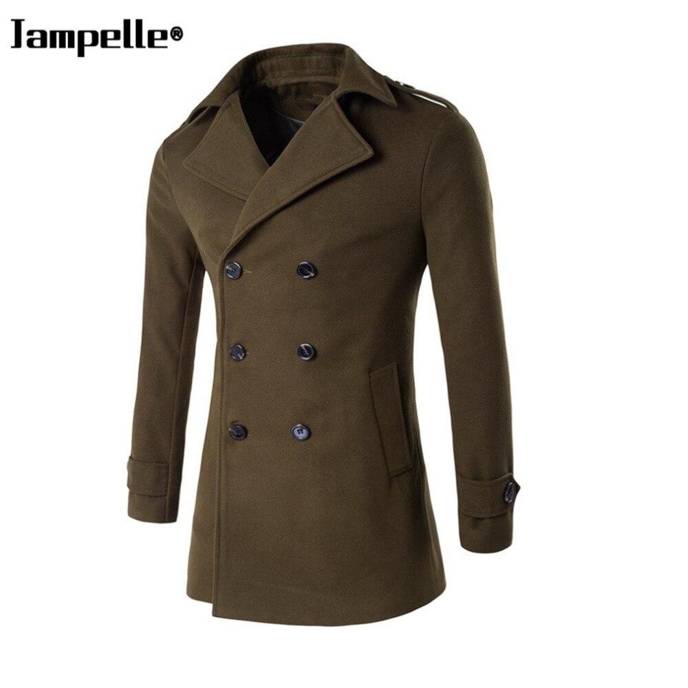 Automne hiver coupe ajustée hommes col rabattu manteau de laine double boutonnage bouton chaleur armée vert laine tissu homme coupe-vent