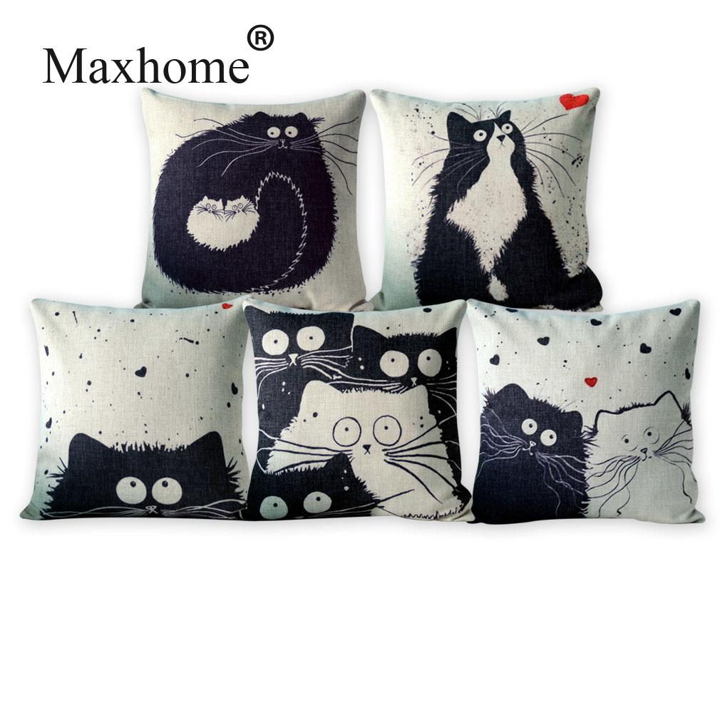 Throw Pillows For Off White Couch : Black And White Cat Family Cushion Decorative Pillows Home Decor Sofa Throw Pillow Cat Cartoon ...