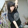 Anime Camisa Preta de T para T-shirt KINOMOTOSAKURA Cardcaptor Sakura Card Captors Cosplay Unisex Tee Tops