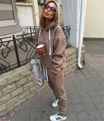 Women Casual Fashion Tracksuits  Autumn Hooded Crop Top Sweatshirt And Loose Long Pants 2 Piece Sets Sweat Suits Female Suit