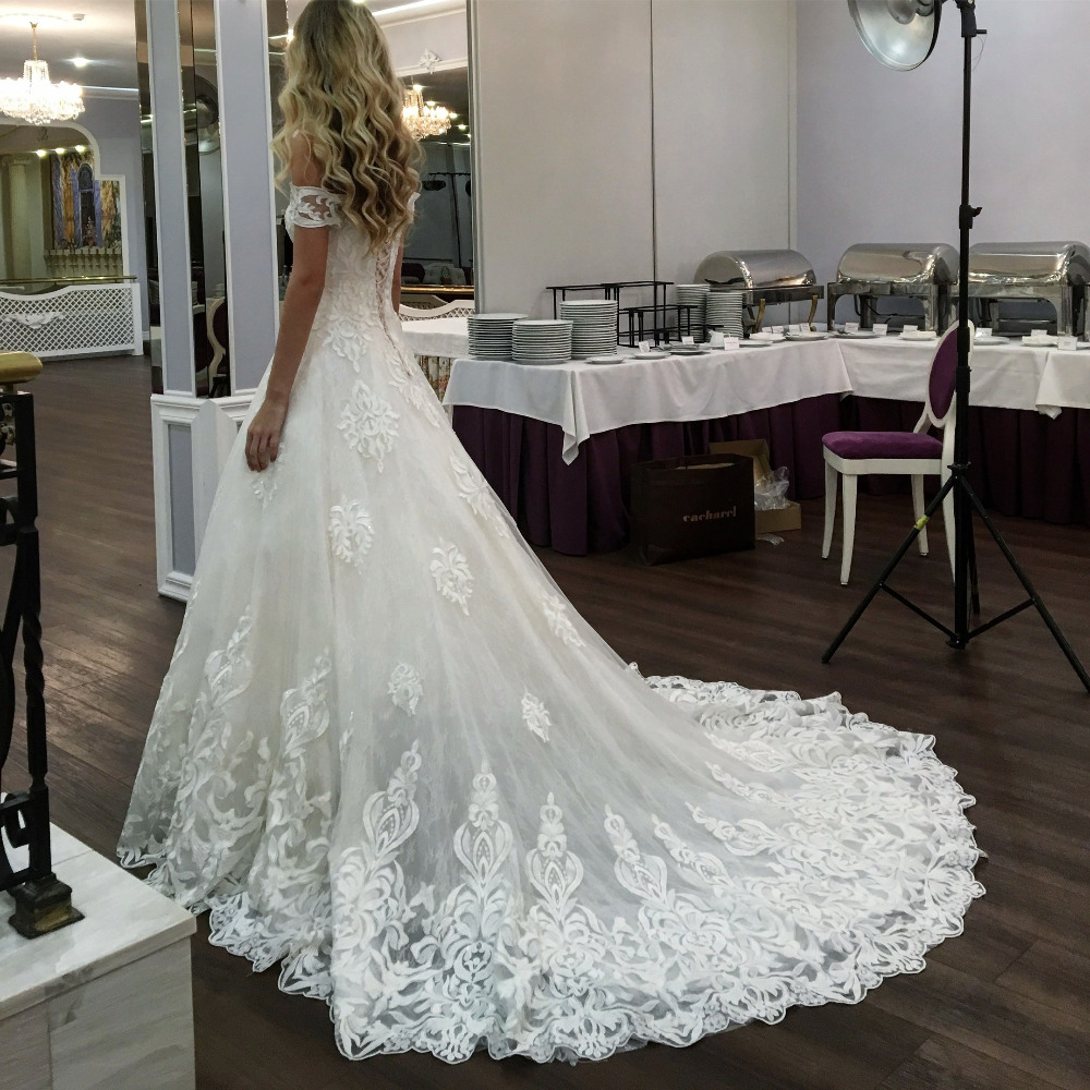 Eslieb Free Shipping High-end Custom made A Line Wedding dress 2019 the same lace Wedding dresses Vestido de Noiva