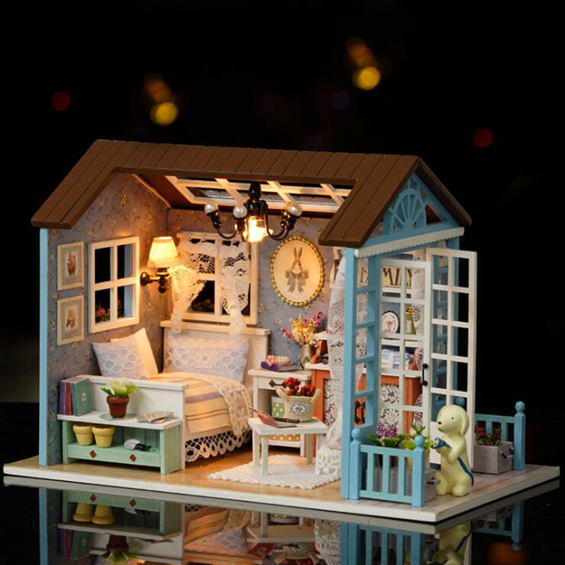 Diy Miniature Wooden Doll House Furniture Kits Toys Handmade Craft Miniature Model Kit DollHouse Toys Gift
