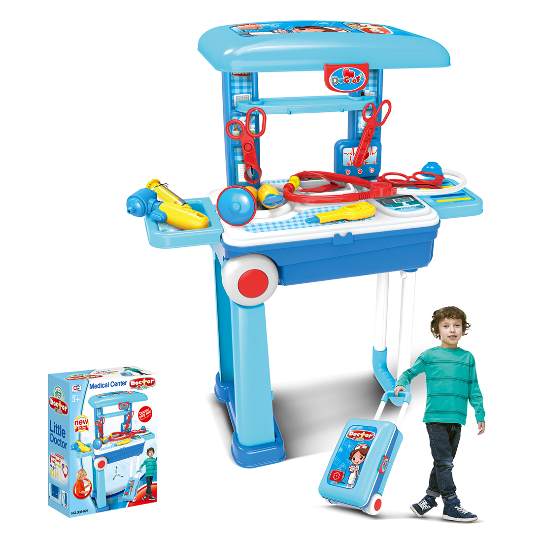 Children Doctor Tool Sets Pretend Play Workbench Playset Educational Toy With Luggage Organizer Doctor Toy