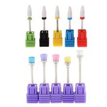 MagiDeal 5Pcs Nail Art Drill Dust Cleaning Brush + 5pcs Nail Polishing Drill Bit