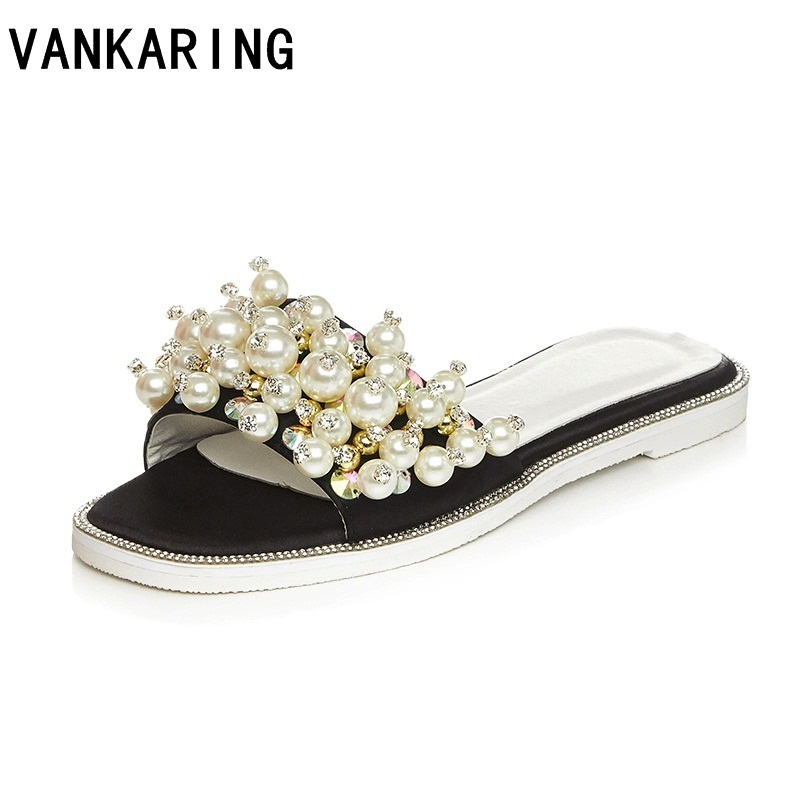 brand shoes fashion beading summer leather mules ladies sandals sexy cut outs flip flops satin sandals flat casual dress shoes