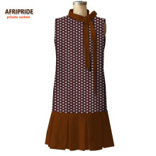 2018 new spring casual dress for women AFRIPRIDE african print sleeveless knee-length pleated bottom A7225147