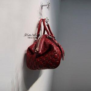 Image 4 - HANSOMFY sac à main en cuir pour femmes, sac à épaule, raviolis exquis gaufrés, sacs faits à la main personnalisé de bonne qualité en daim Fashion