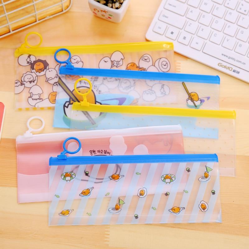 Novelty Gudetama Lazy Egg PVC Waterproof Pencil Bag Stationery Storage Organizer Bag School Supply Student Prize