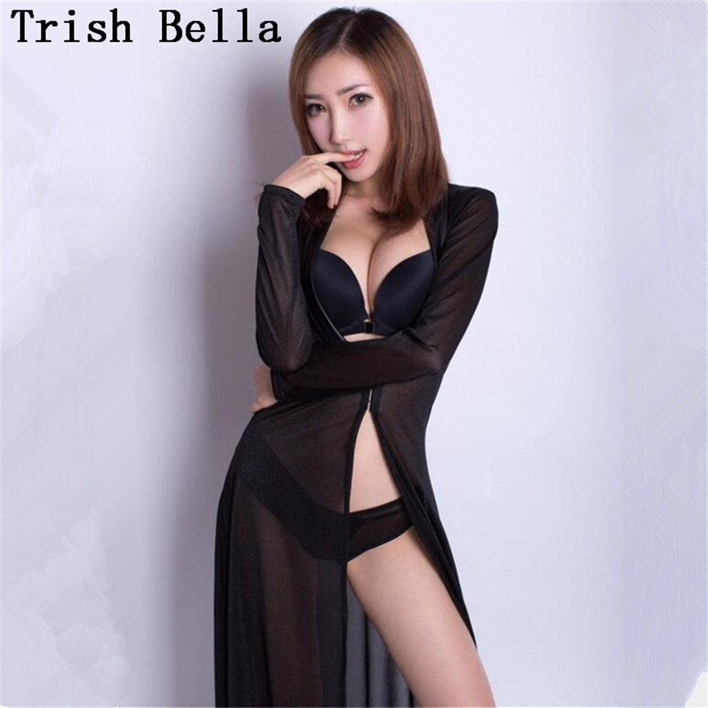 transparent Net yarn Long sleeves Cardigan Lengthen Pajamas Dress sexy lingerie erotic sexy underwear lenceria langerie babydoll in Babydolls Chemises from Novelty Special Use
