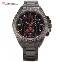 New Shark Tachymeter Bezel 24 Hours Display Chronograph Stainless Steel Black Red Outdoor Cycling Men Sport