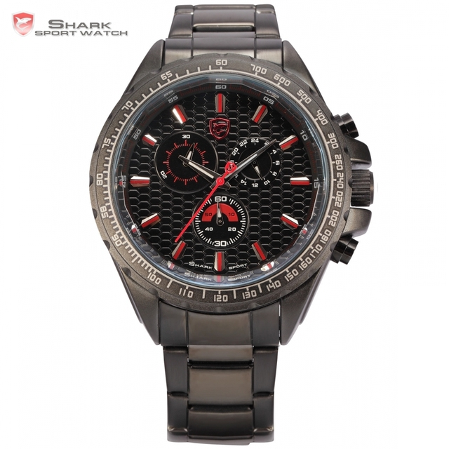 Steel Frilled Shark Sport Watch Tachymeter Bezel 24 Hrs Stopwatch Stainless Steel Black Red Outdoor Men Army Wristwatch / SH191