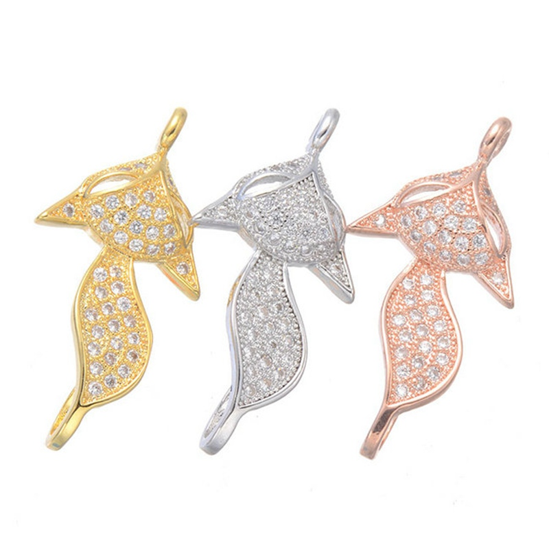 Supplier Accessories For Jewelry Making 2017 New Zircon DIY Animal Gold Fox Connectors Charms Pendant For Bracelet Necklace