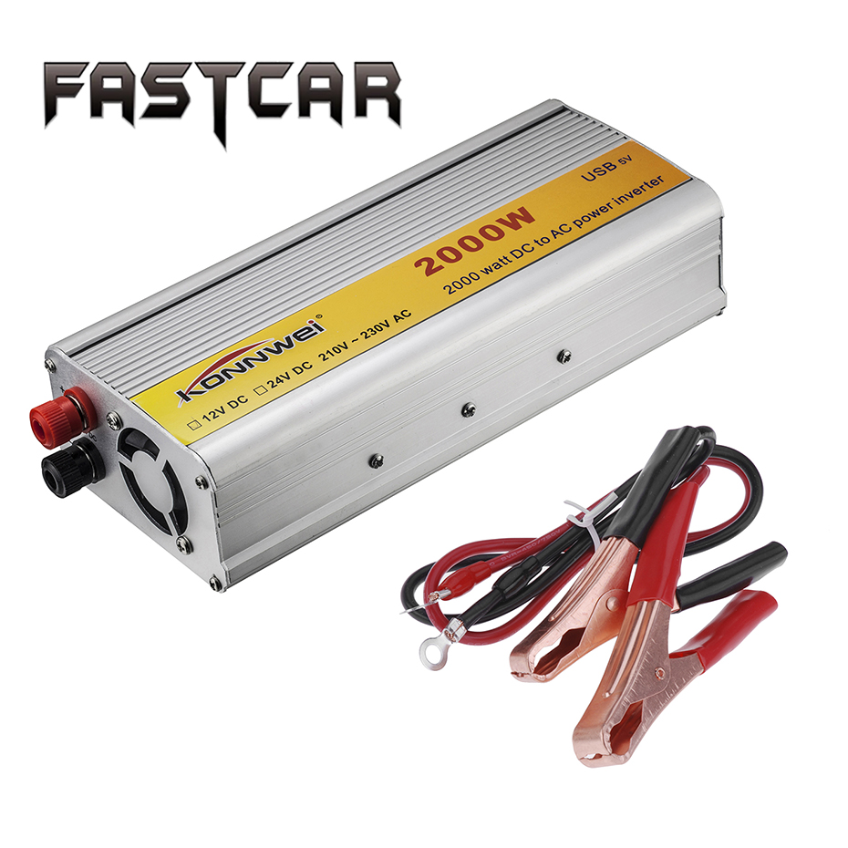 Car Inverter 2000W USB Pure Sine Wave Inverter 12V 220V DC to AC Power Inverter Converter Adapter Auto Charger Inversor 2000W 2000w 12v dc to 110v ac power inverter pure sine wave auto car with universal socket adapter car charger for electrical fan