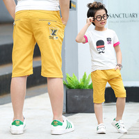 2017 Summer Casual Boys Pants Knee Length Orange Cotton Letter Boy Trousers Boys Clothes For 3
