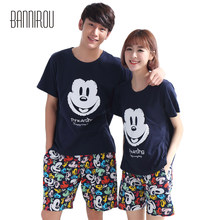 4784aa88bc Pantalones cortos de verano pijamas a juego Mickey 100% algodón pareja  cuello redondo colorido desgaste