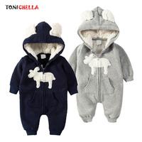 Baby   Rompers   Climbing Clothes Newborn Warm Cute Deer Pattern Zipper Jumpsuit Winter Long Sleeve Hooded Thickening Outwear CL5019