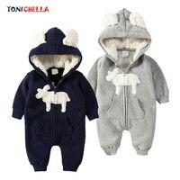 Baby Rompers Climbing Clothes Newborn Warm Cute Deer Pattern Zipper Jumpsuit Winter Long Sleeve Hooded Thickening