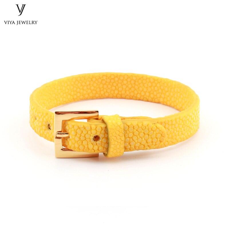 Simple Clasp Flat Stingray Python Cord Wrap Bracelet Charm Cuff Leather Men Bracelet 8mm Real Python Stingray Leather Wristband Adjust Bracelet (47)