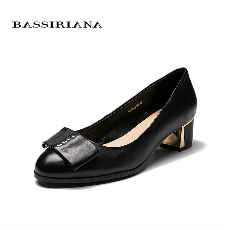 BIG size 39-43 Pumps Genuine leather shoes woman High heels Round Toe Dress Black Spring/Autumn Free shipping BASSIRIANA free shipping 2016 spring autumn pointed toe rhinestone med heels woman shoes big size40 21 42 43 nubuck leather pumps shoes