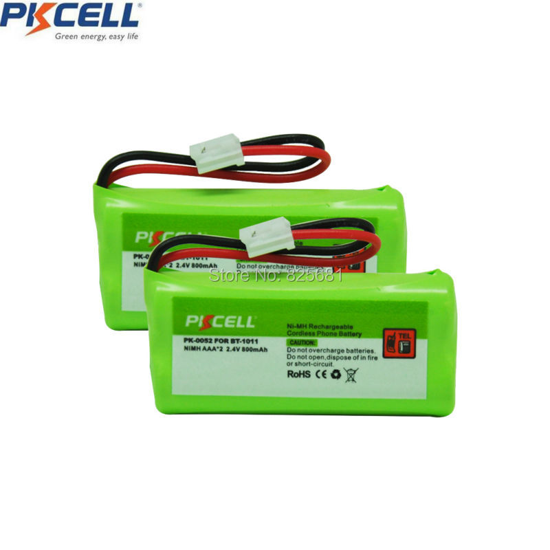 2pcs  Pack NIMH 2.4V AAA 800mAh Ni-MH Battery Rechargeable Cordless Phone Battery Replacement for BT-1011 JST-HER-2P (PK-0052)
